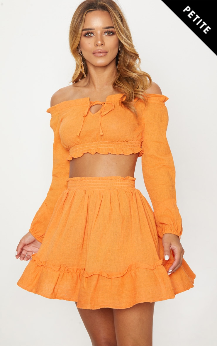 Petite Tangerine Cheesecloth Floaty Skirt