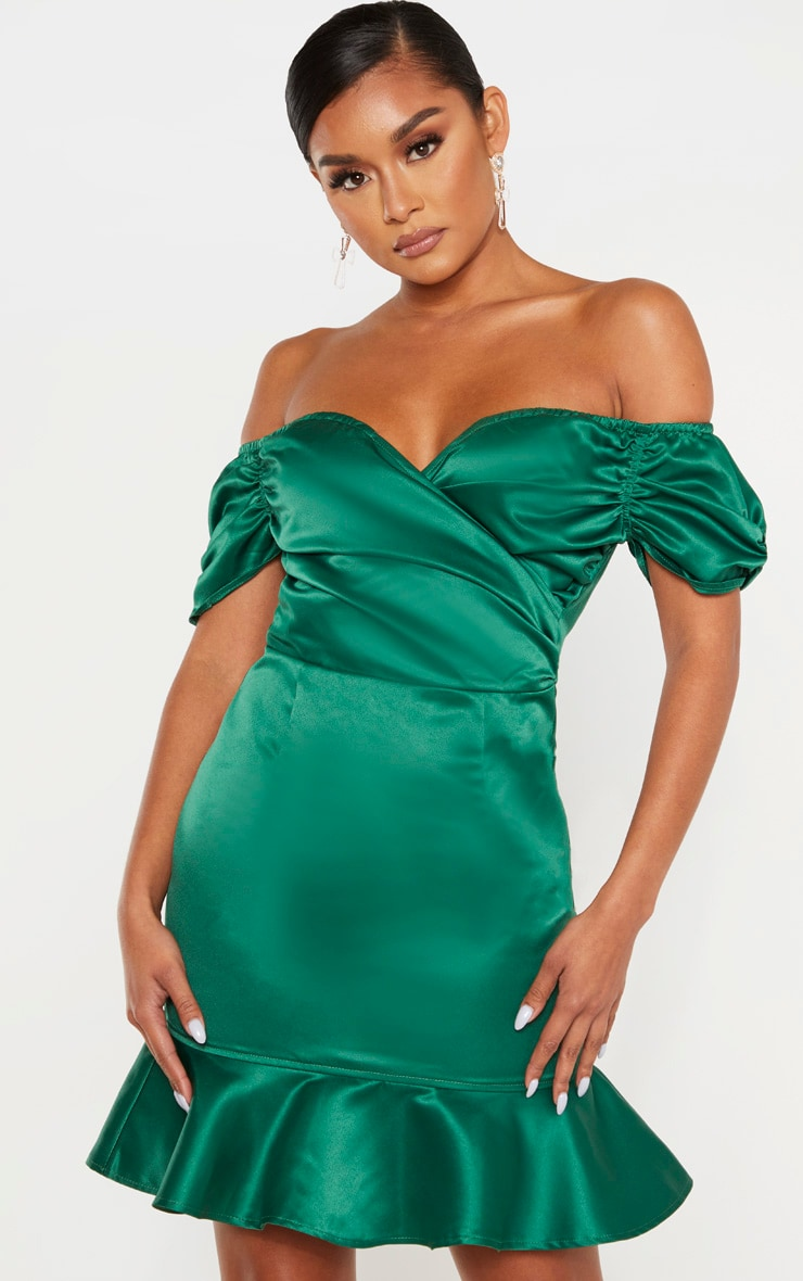 Emerald Green Bonded Satin Bardot Wrap Front Bodycon Dress 4