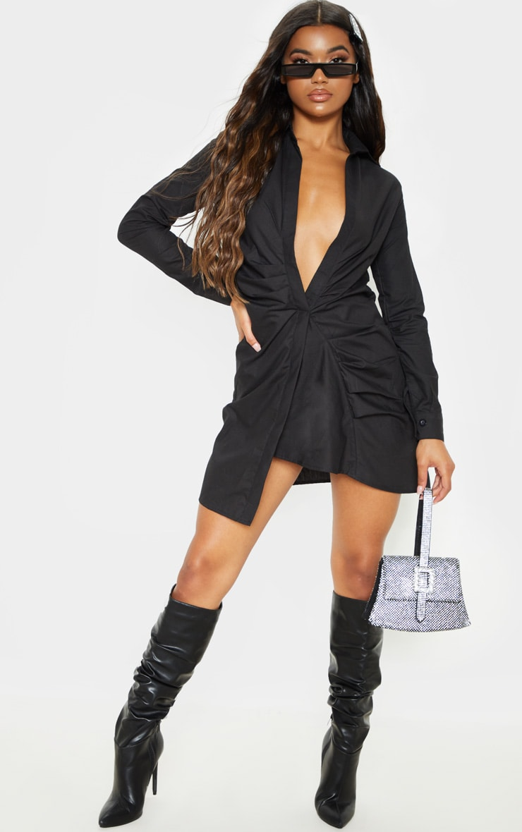 Black Ruched Front Shirt Dress 1
