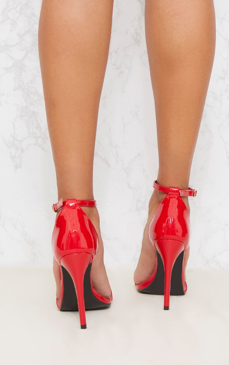 Red Patent Heeled Strappy Sandal 4