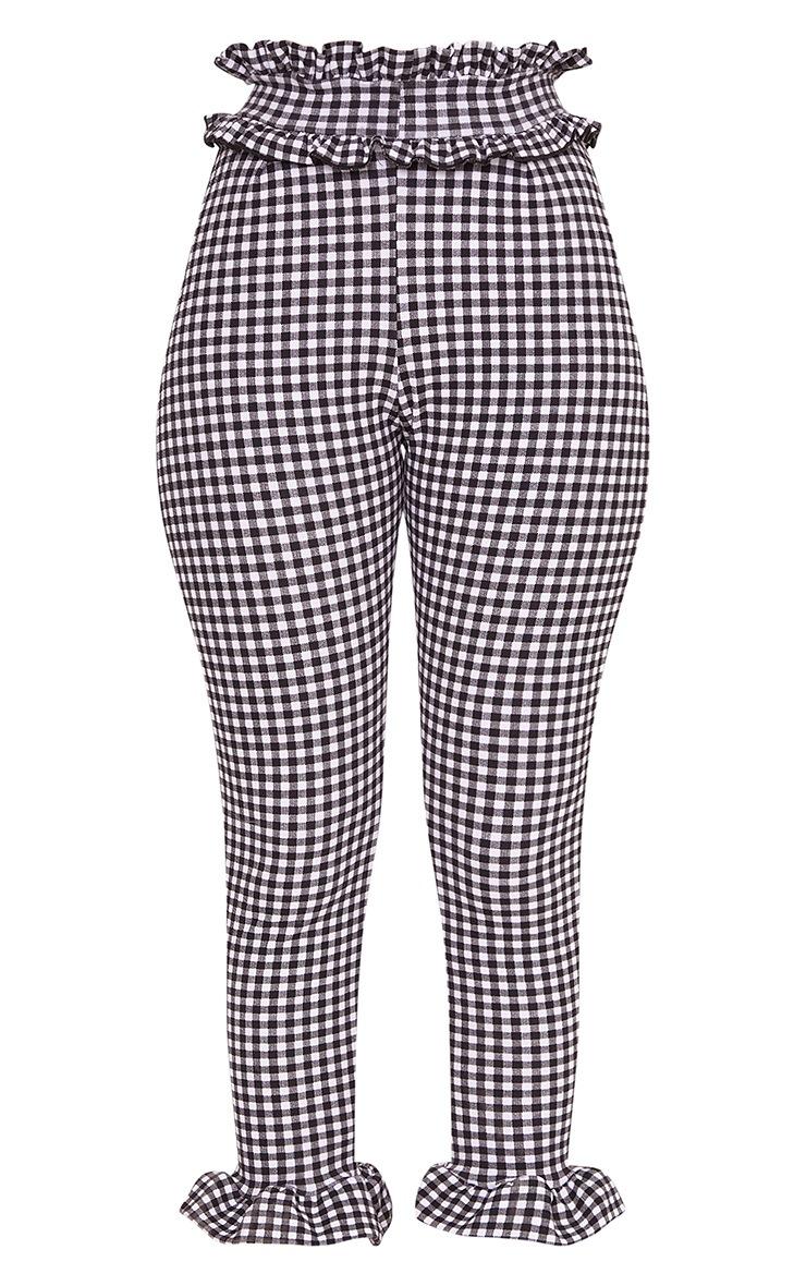 Keren White Gingham Frill Pants 3