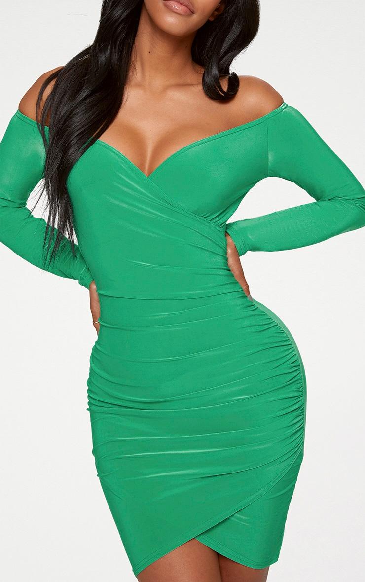 Shape Bright Green Slinky Ruched Detail Bardot Dress  4