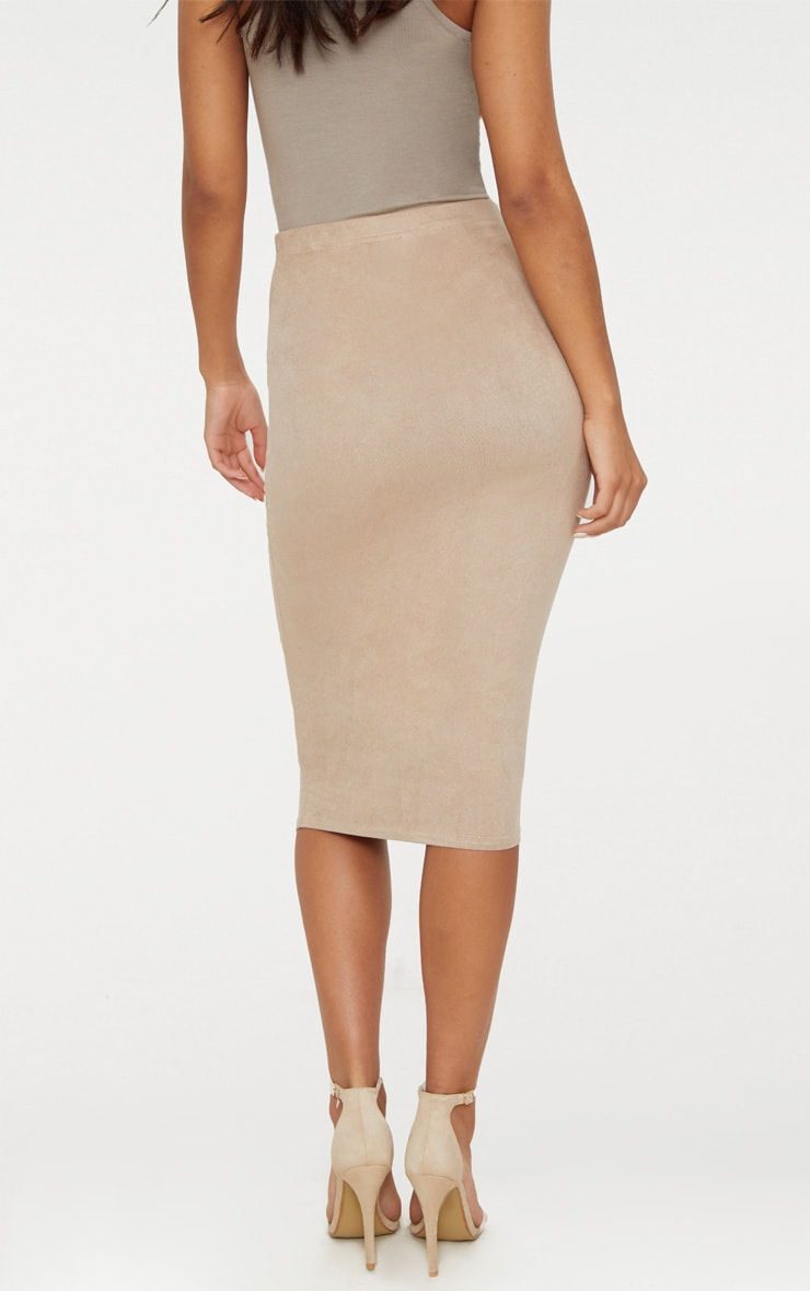 Stone Faux Suede Midi Skirt 4
