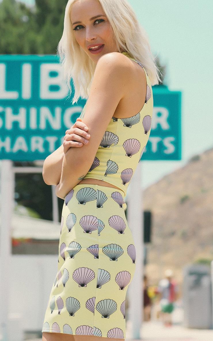 Alexis Yellow Shell Print Skirt 2