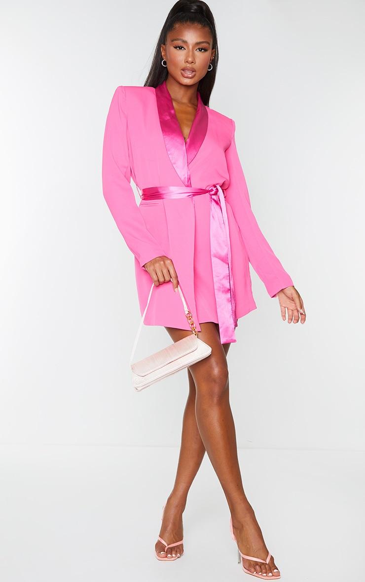 Pink Satin Lepel Tie Waist Blazer Dress 3