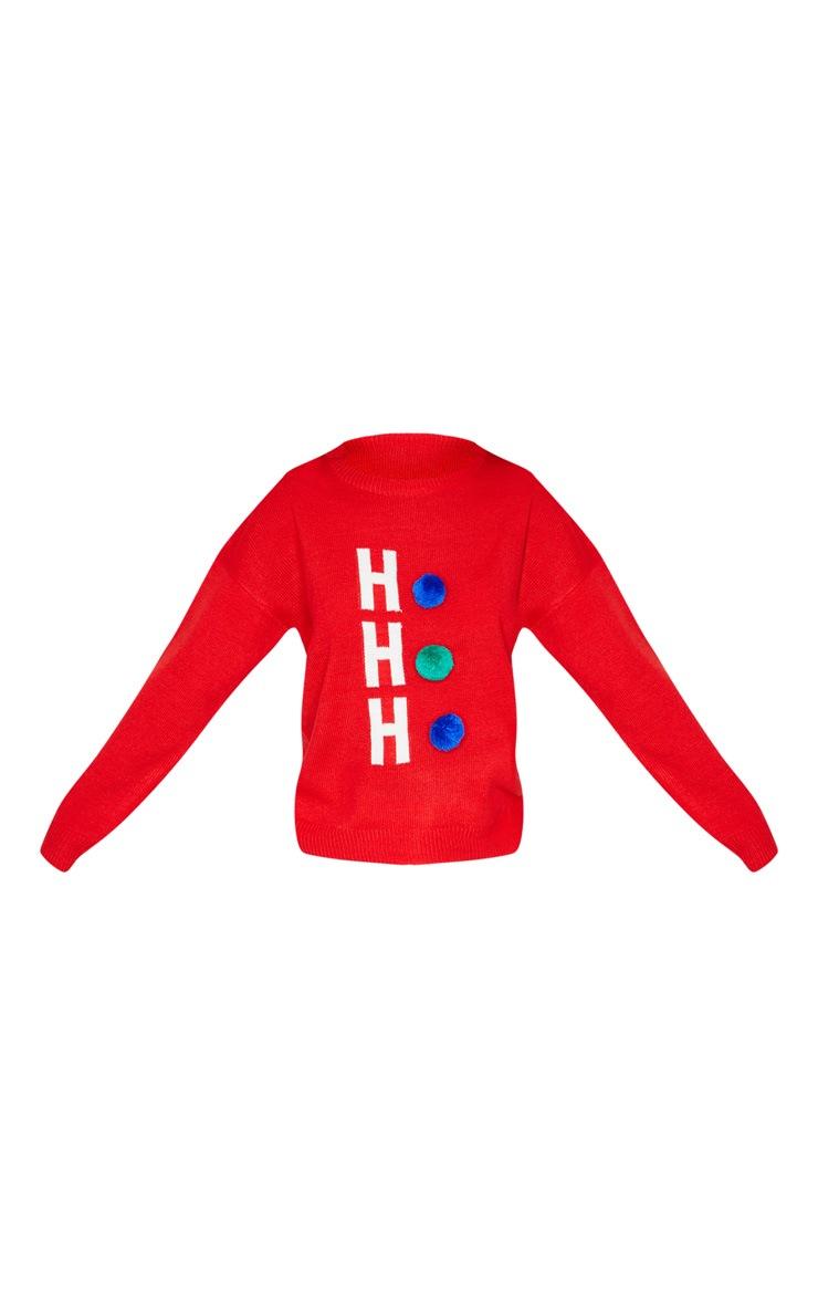Red Ho Ho Ho Pom Pom Christmas Jumper 3
