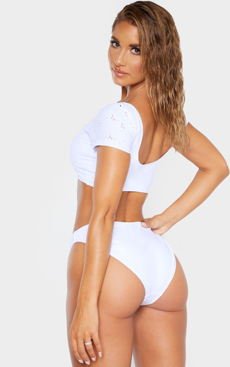White Short Sleeve Bow Front Broderie Bikini Top 2