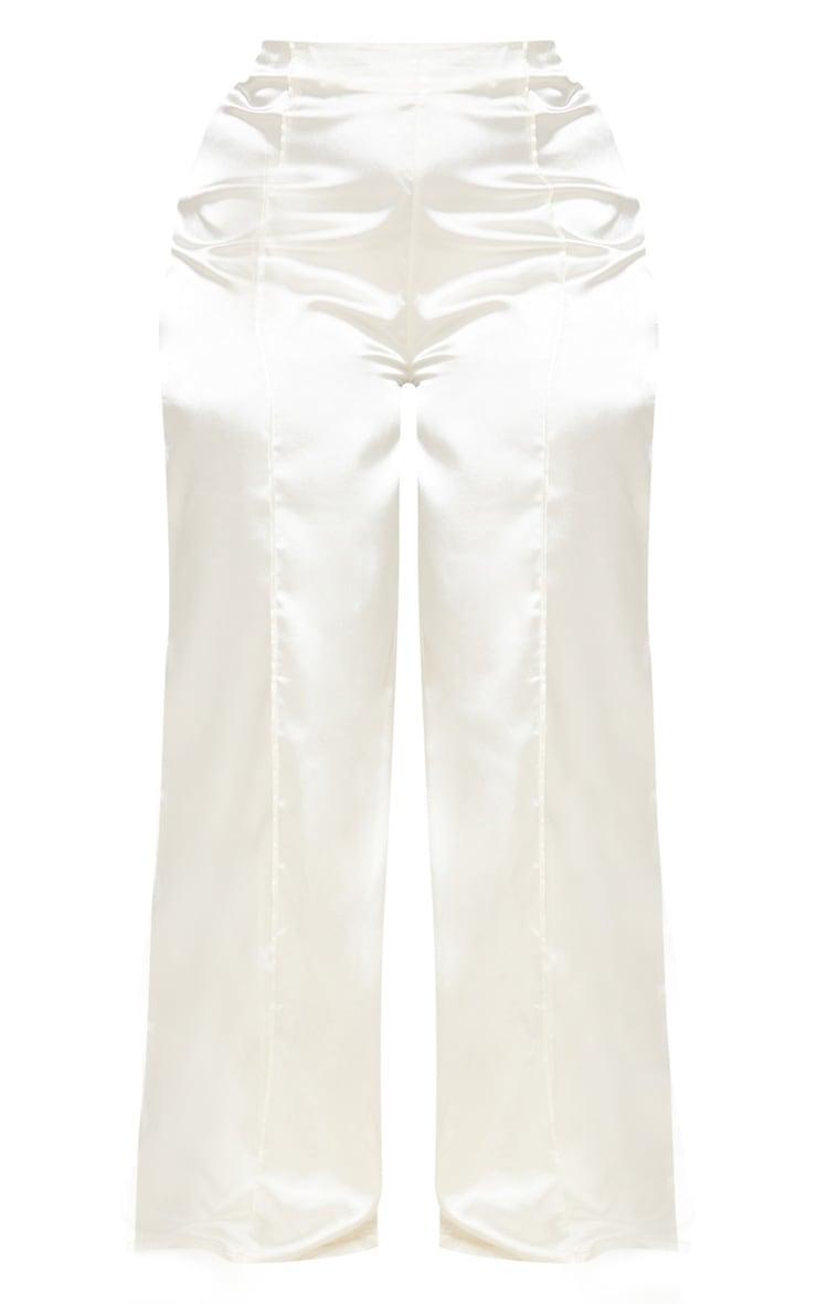 White Satin Wide Leg Pants 4