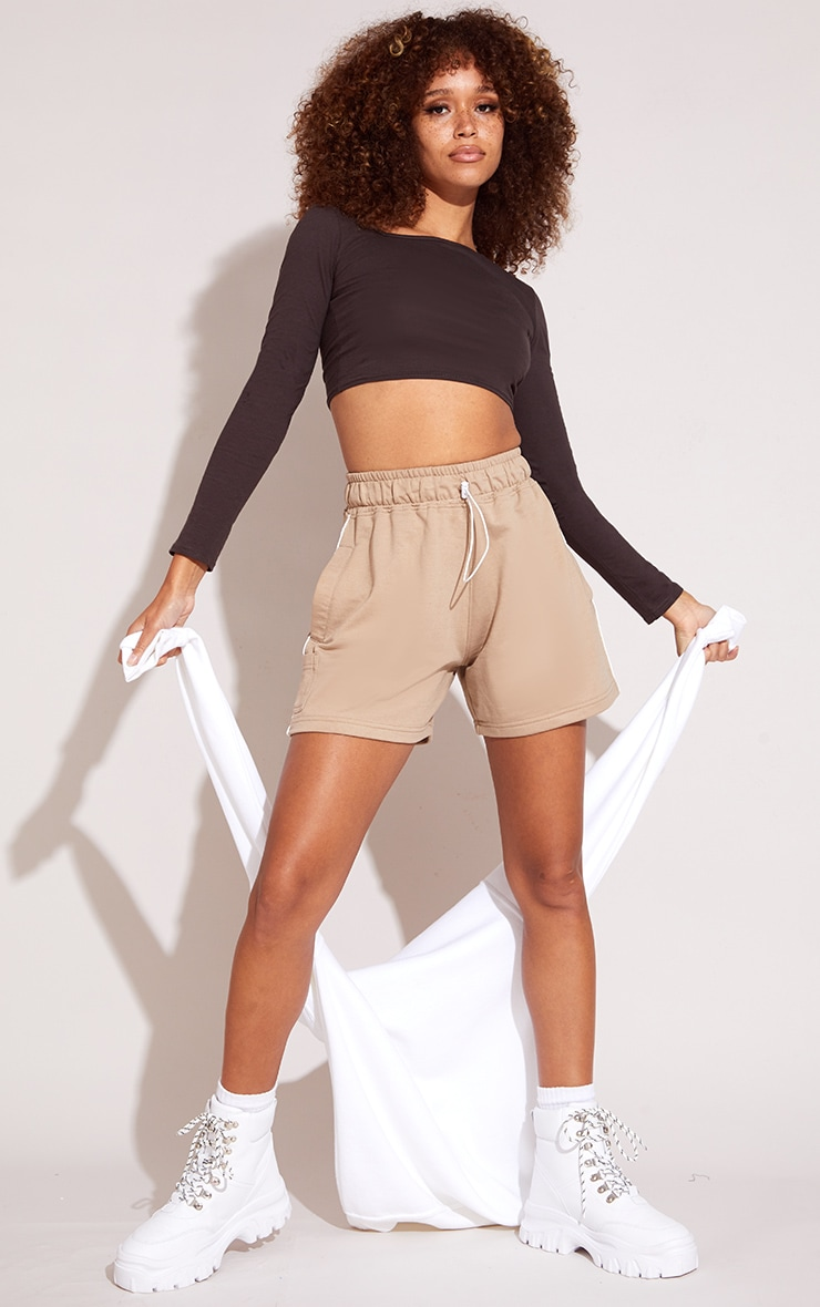 Chocolate Jersey Slashed Neck Long Sleeve Crop Top 3