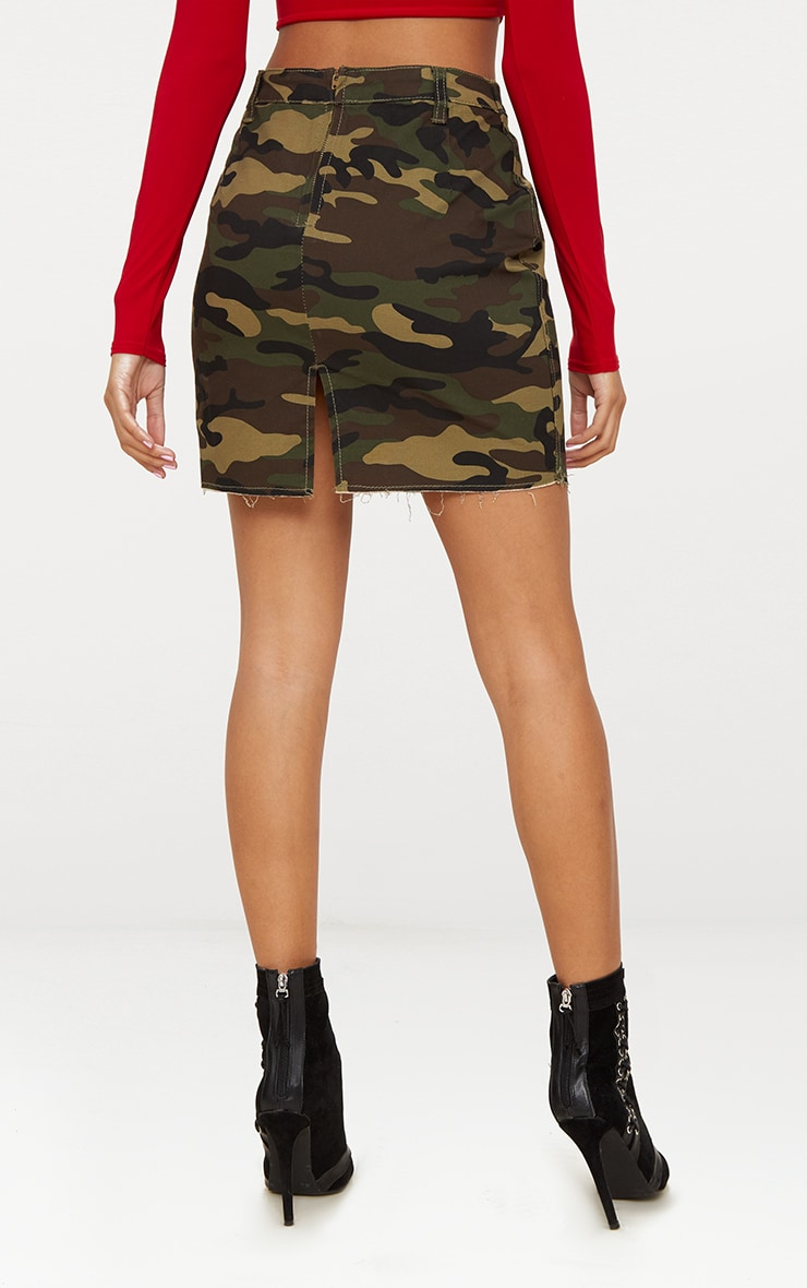 Camouflage Denim Mini Skirt 4