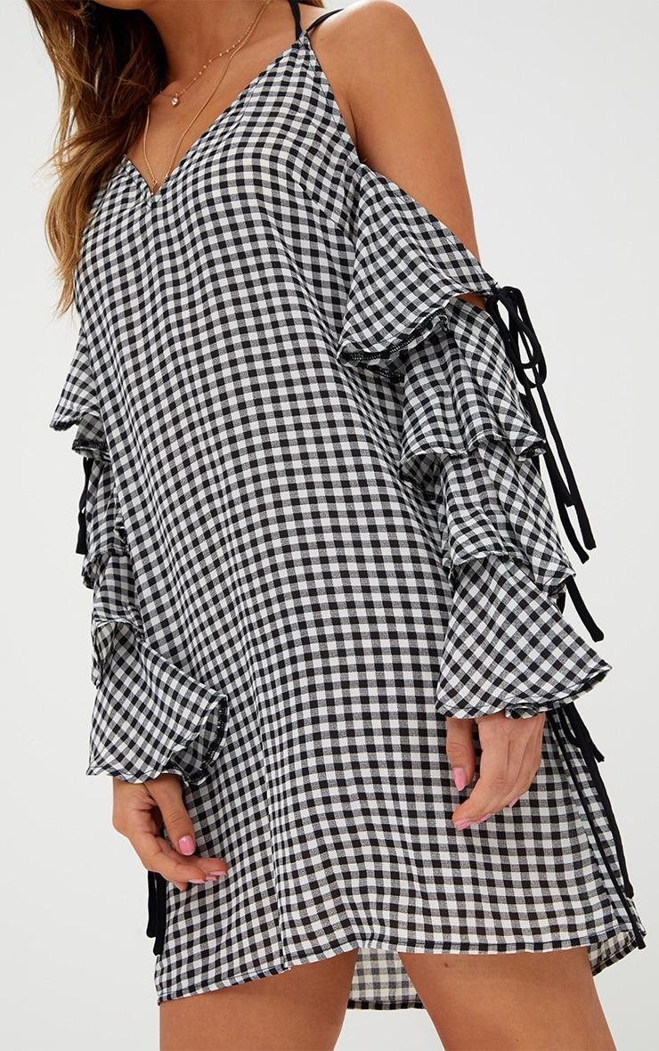 Black Gingham Tie Detail Shift Dress 5