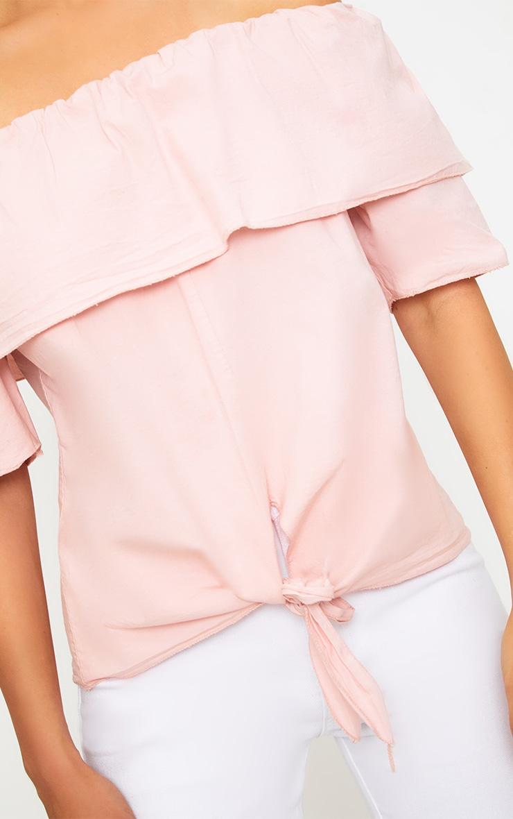 Pink Bardot Shortsleeve Tie Front Shirt 5