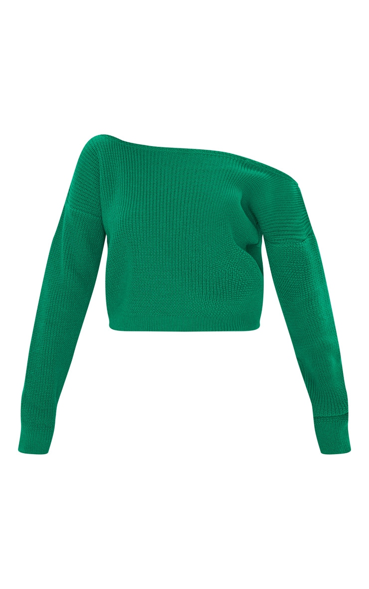 Emerald Green Off Shoulder Knitted Crop Sweater 3