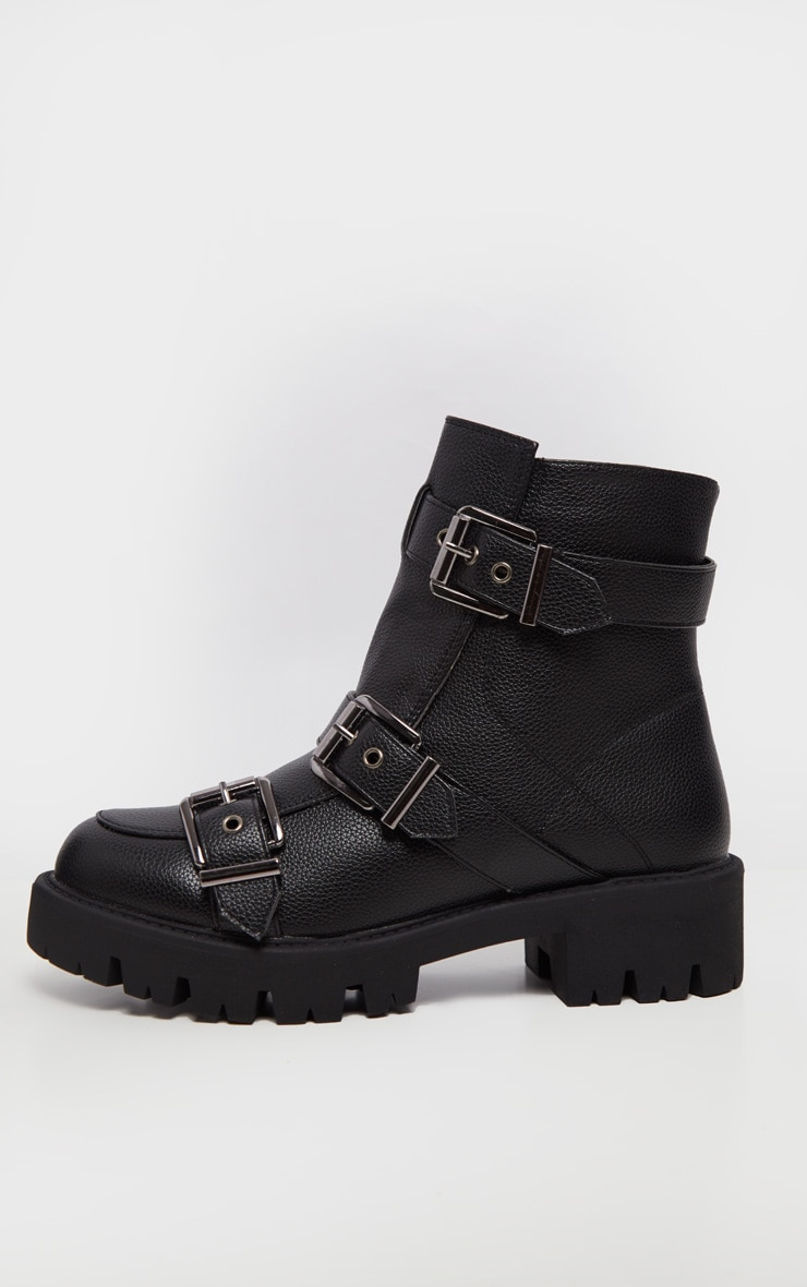 Black Triple Buckle Cleated Hiker Ankle Boot 4