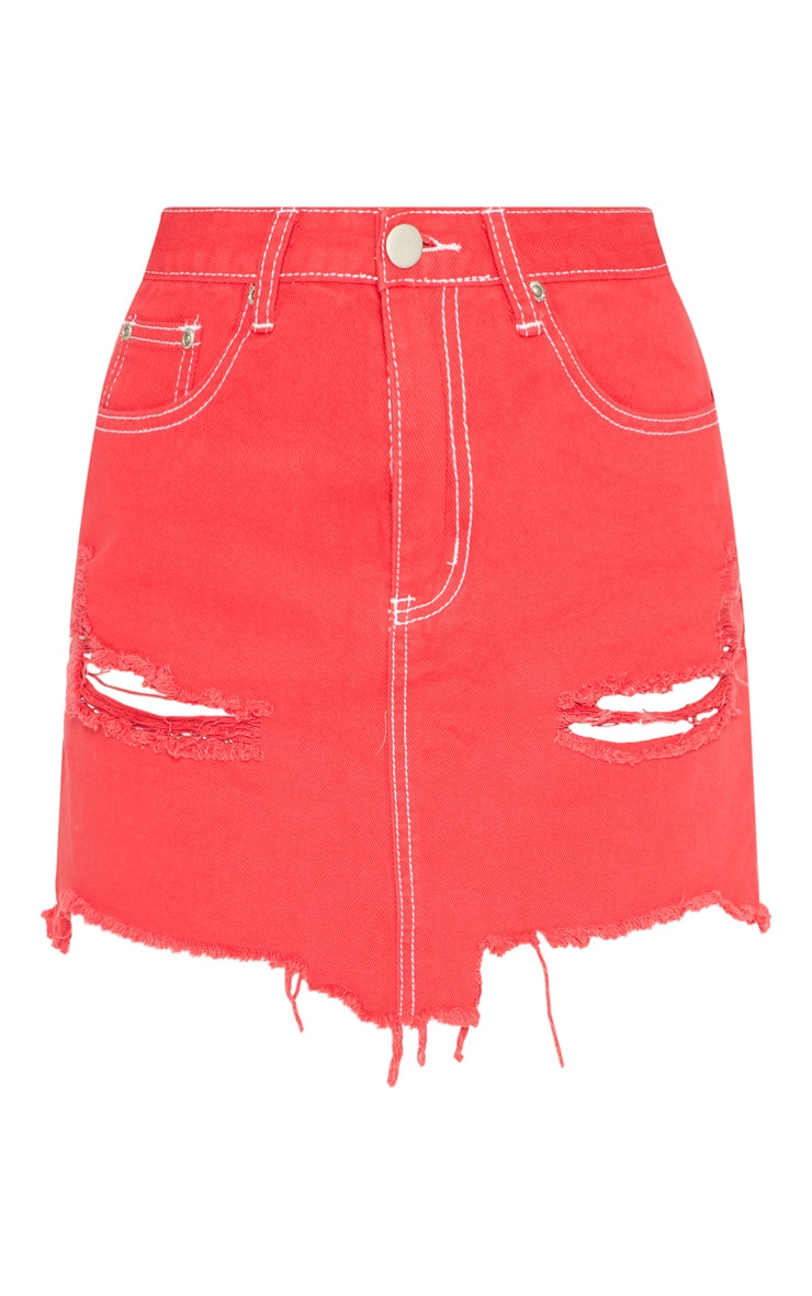 Red Contrast Stitch Denim Skirt 3