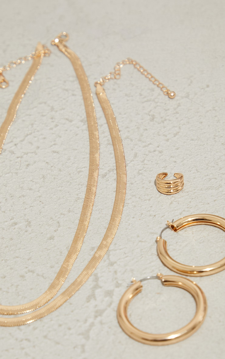 Gold Double Hoop And Necklace Pack 2