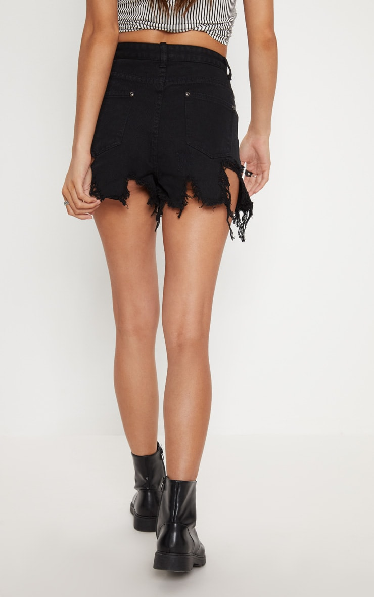 Black Extreme Thigh Rip Denim Short 4