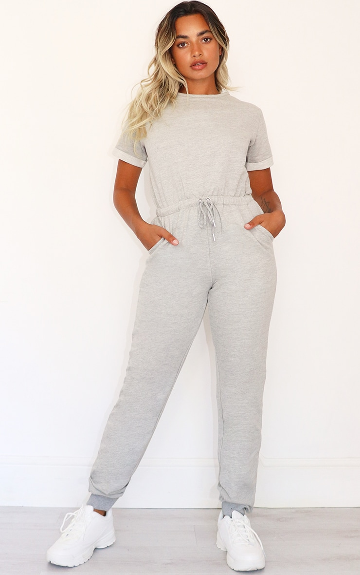 Petite Grey Sleeve Sweat Jumpsuit 1