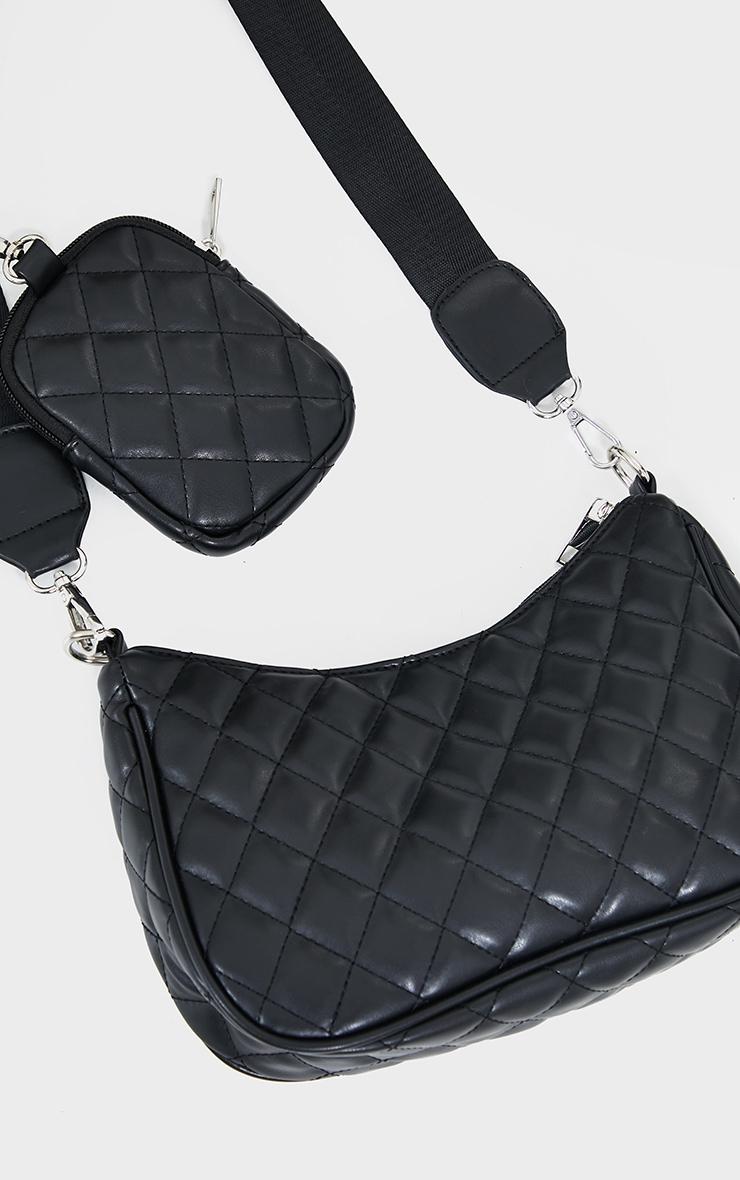 Black Quilted Diamond Cross Body Bag 4