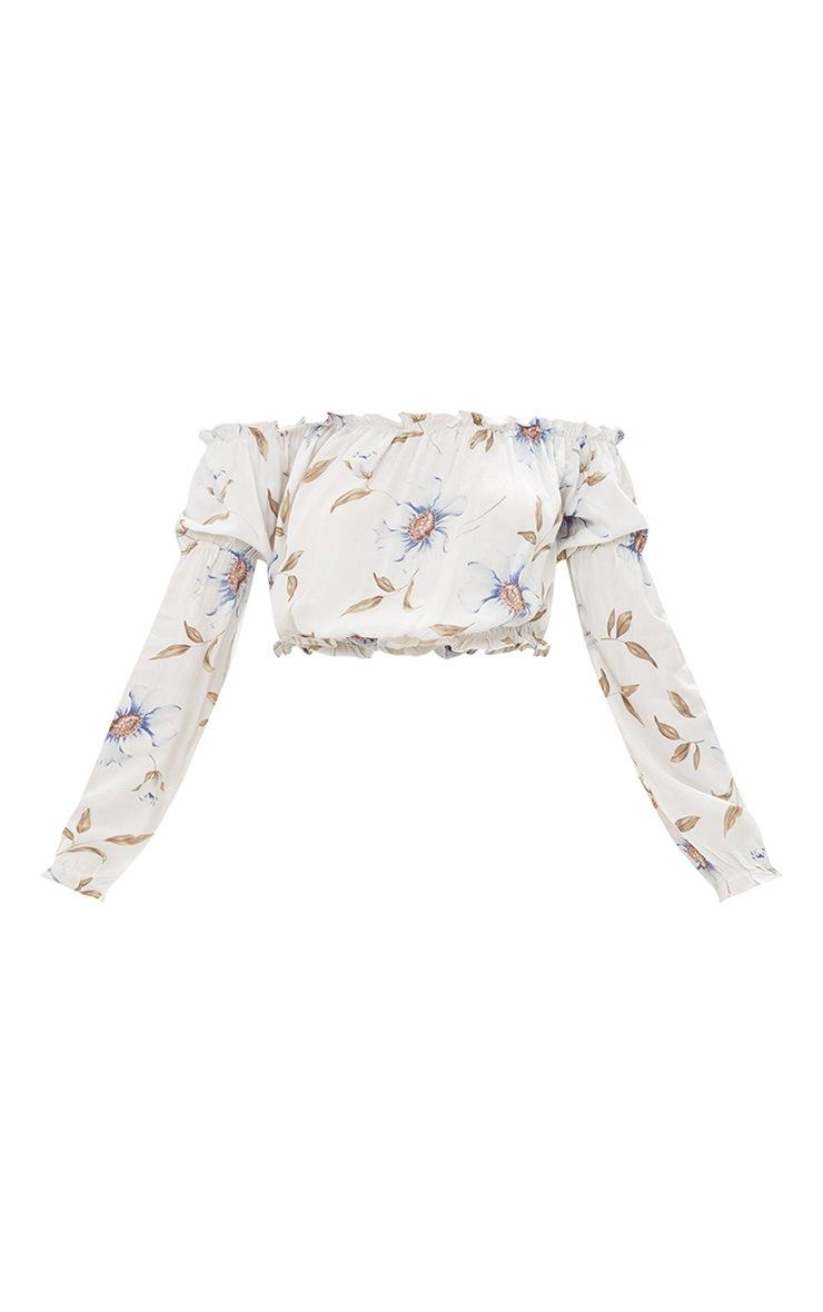 Cream Floral Print Bardot Longsleeve Crop Top 3