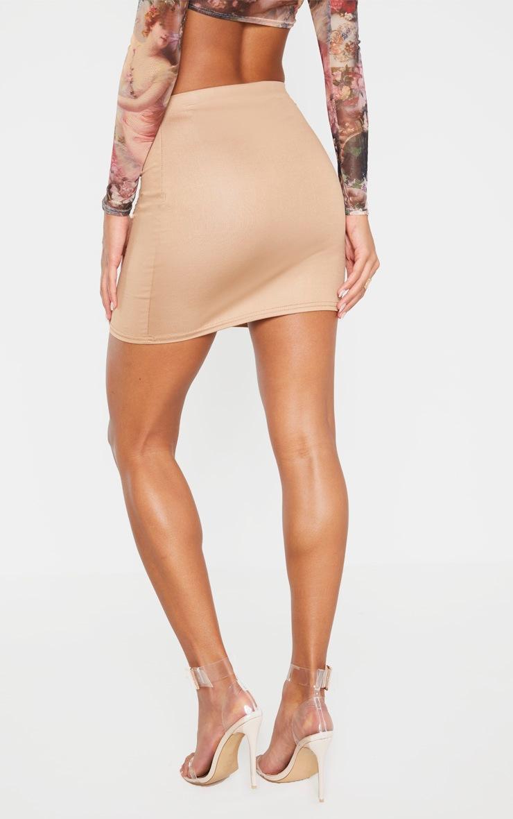 Camel Wet Look Mini Skirt 4