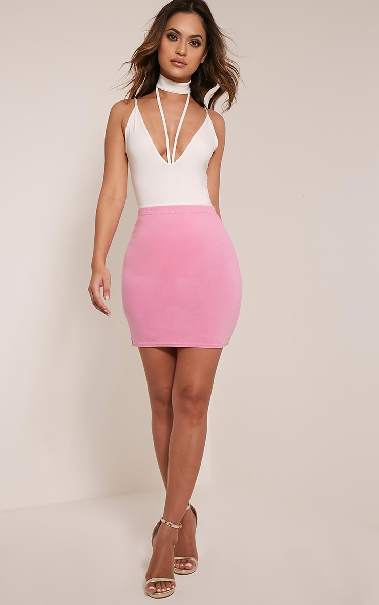 Basic Bubblegum Pink Jersey Mini Skirt 6