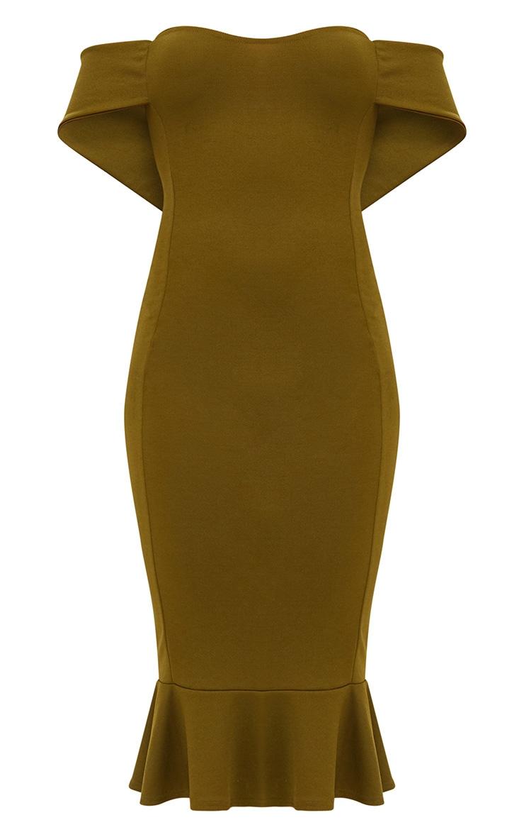 Olive Green Bardot Frill Hem Midi Dress 3