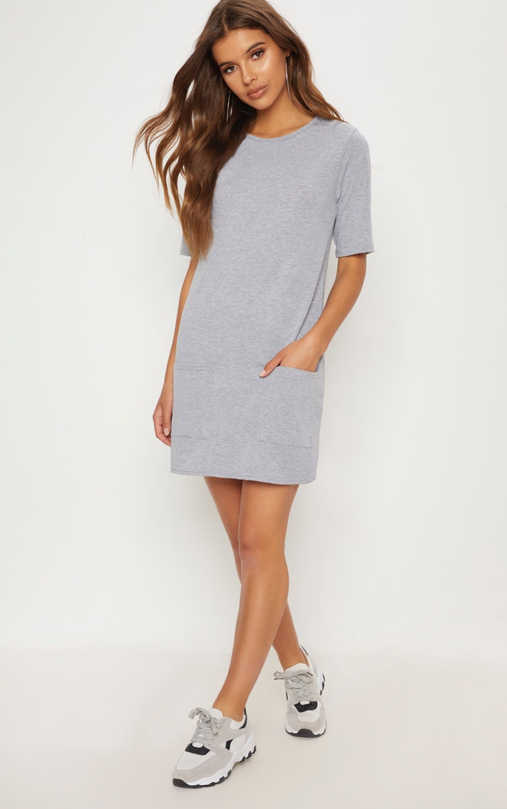 Basic Grey Pocket Detail T Shirt Dress