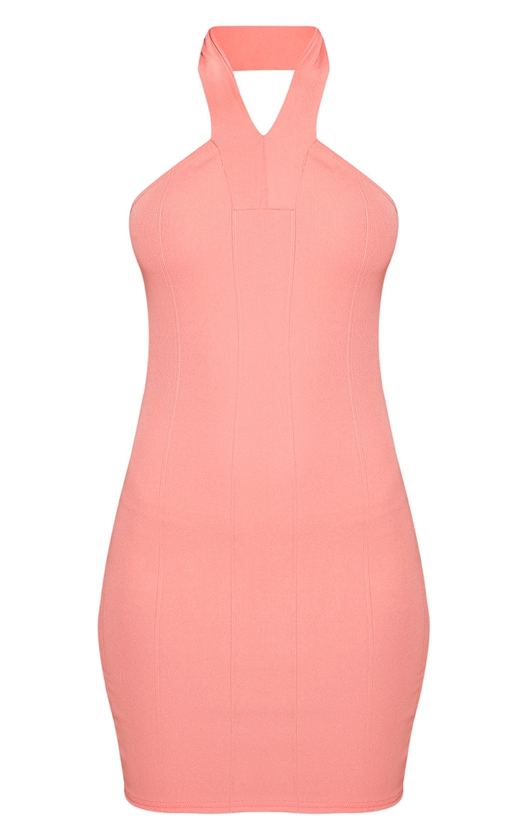 Chessie Coral Halterneck Bandage Bodycon Dress 3