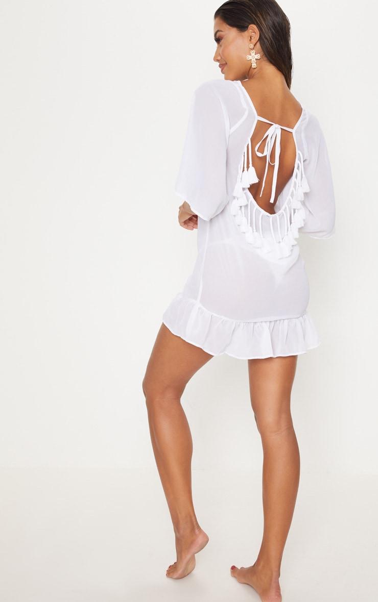 White Tassel Low Back Frill Beach Dress