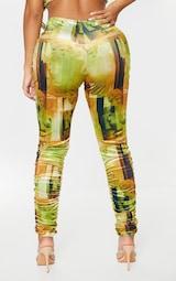 Shape Olive Renaissance Print Velvet V Front Ruched Leggings 3