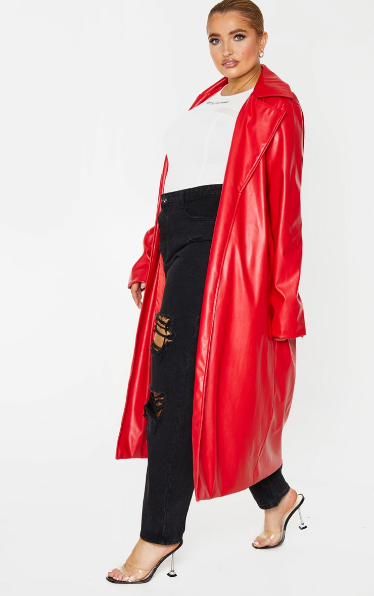 Plus Red PU Longline Trench 3