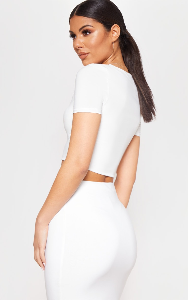 White Slinky V Neck Crop T Shirt 2
