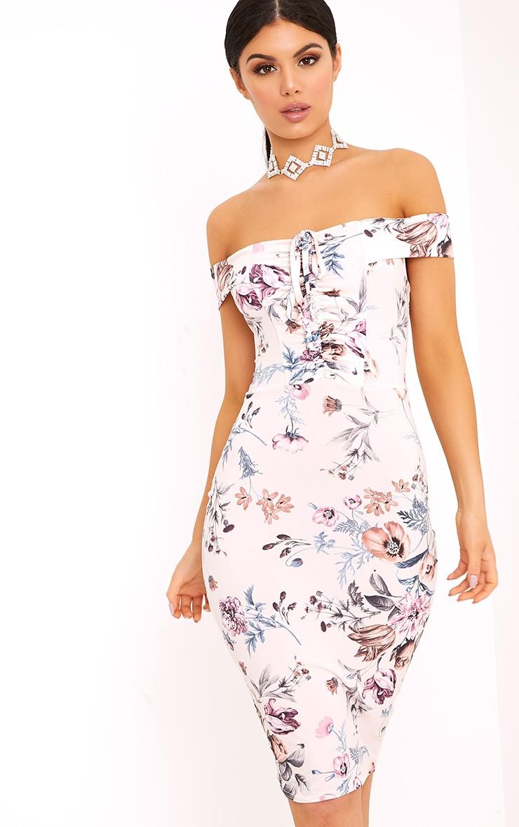 Nude Slinky Floral Bardot Bodycon Dress 1