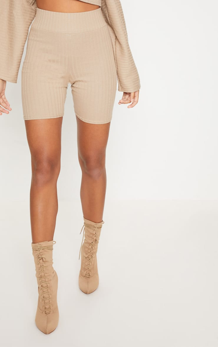 Taupe Rib High Waisted Cycling Shorts 2