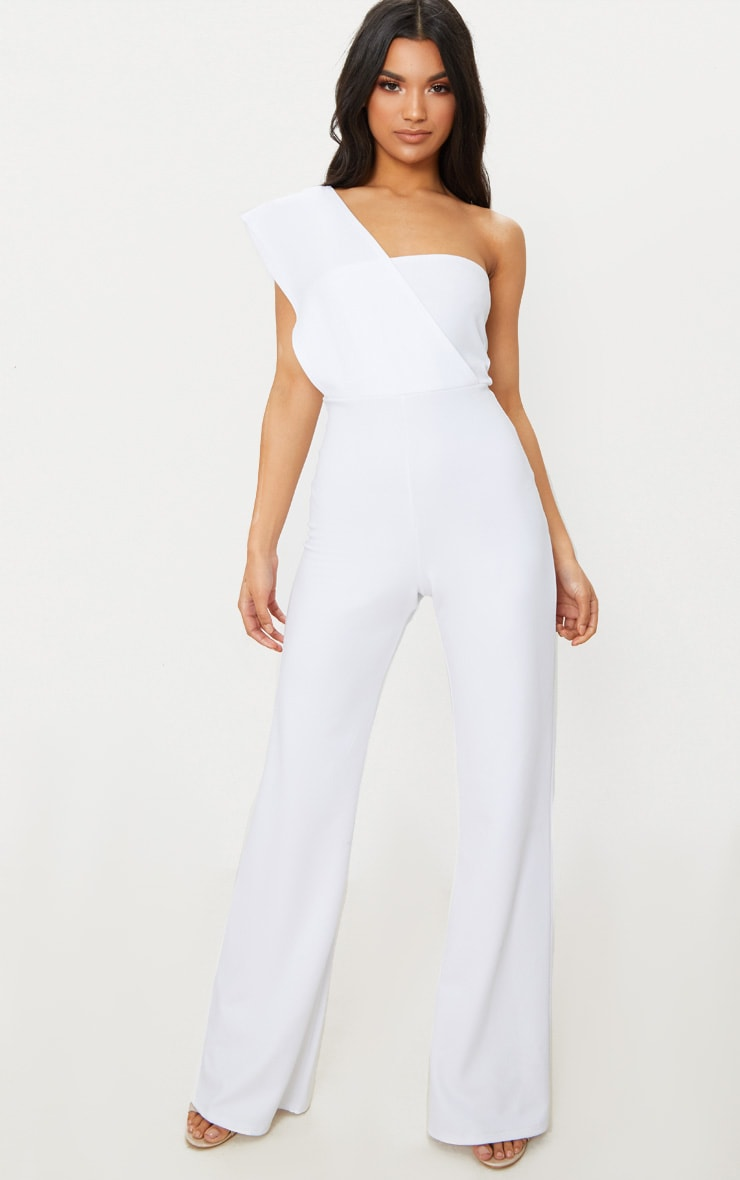 White Drape One Shoulder Jumpsuit 1