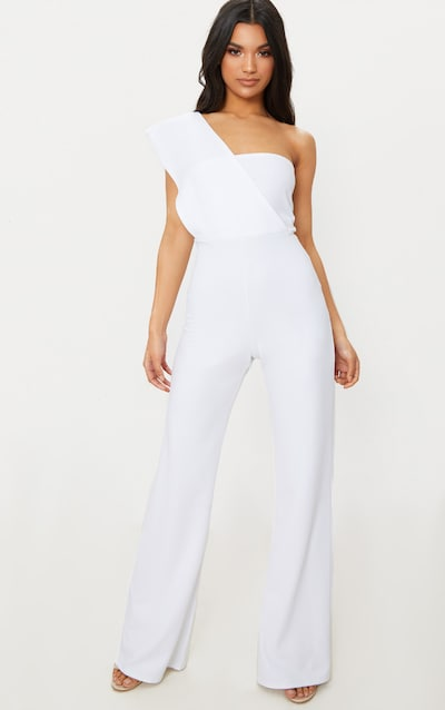 b65be7bdfc91 White Drape One Shoulder Jumpsuit