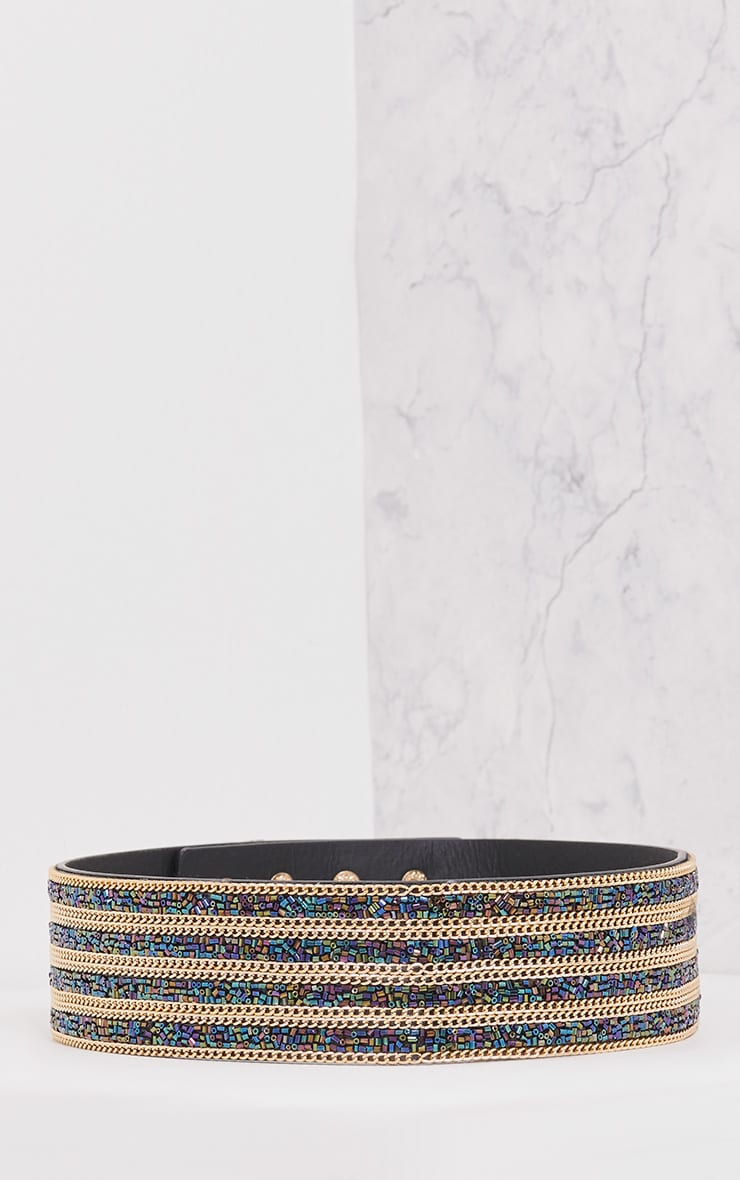 Selia Purple & Emerald Gold Chain Waist Belt 3