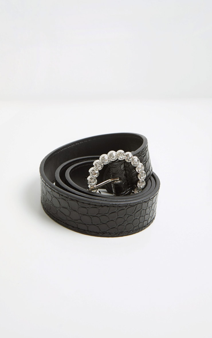 Black Patent Croc Gemstone Round Buckle Belt 3