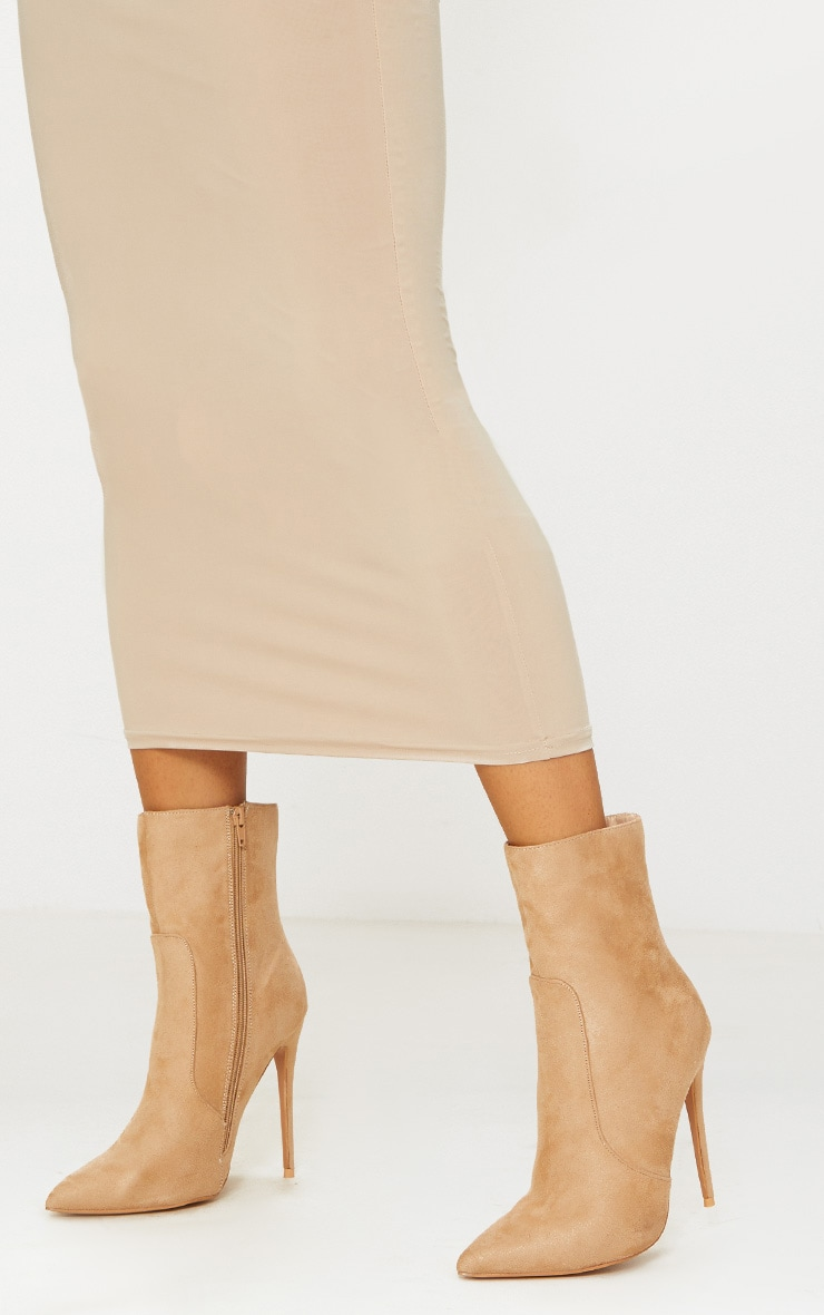 Stone Faux Suede Heeled Ankle Boot 1