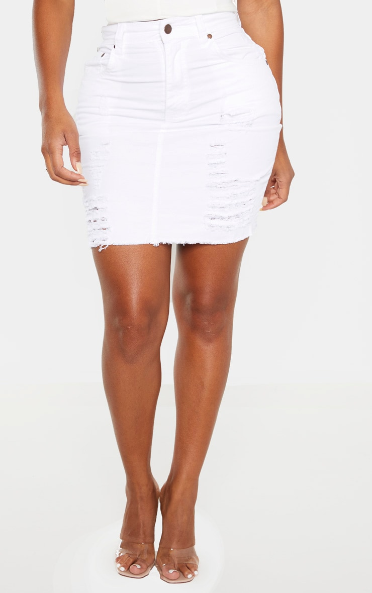 Shape White High Waist Distressed Denim Skirt 2