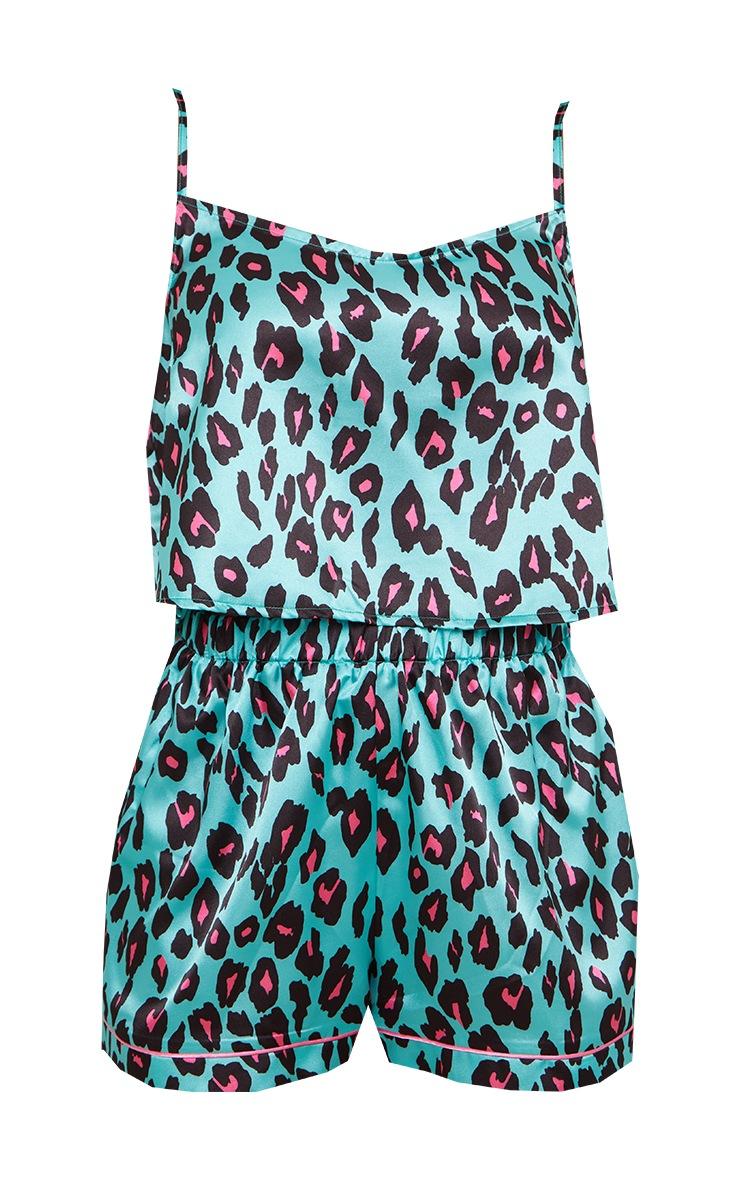 Turquoise Leopard Print Satin Cami And Short PJ Set 5