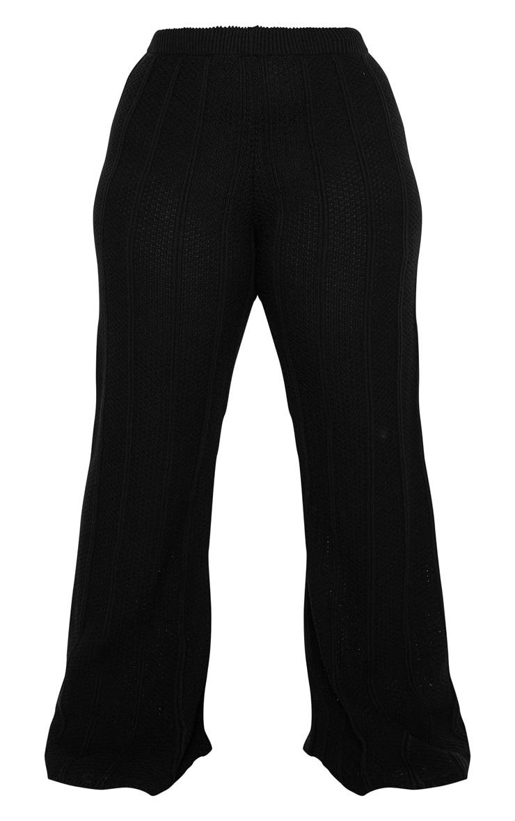 Plus Black Knit Wide Leg Pants 5