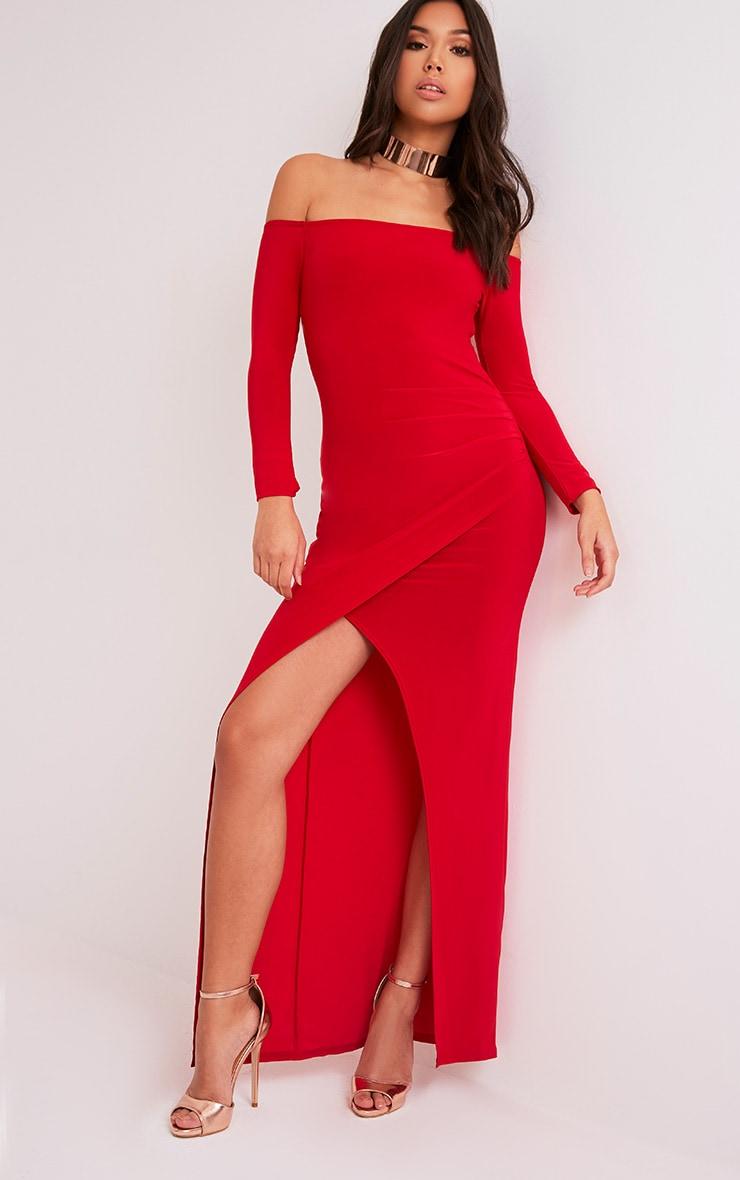 Sharlotte Red Slinky Wrap Bardot Maxi Dress 4