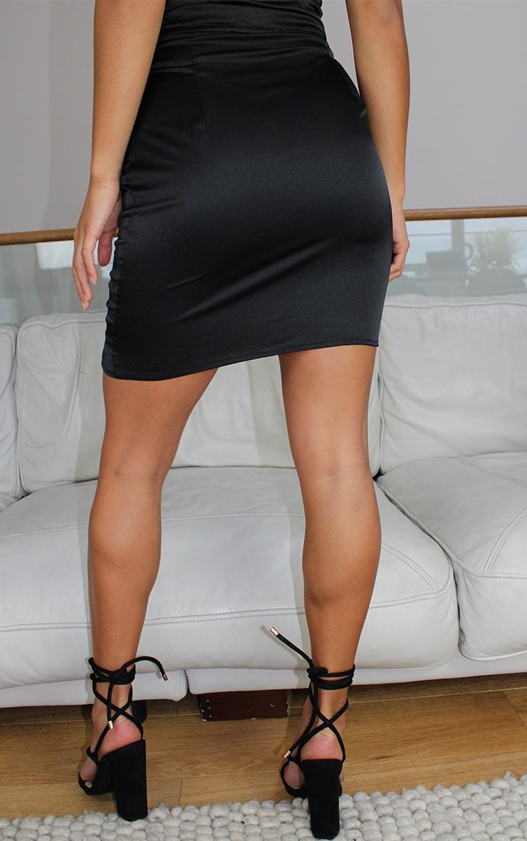 Petite Black Satin Lace Up Detail Mini Skirt 3