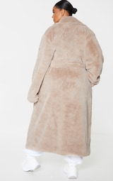 Plus Taupe Belted Faux Fur Coat 2