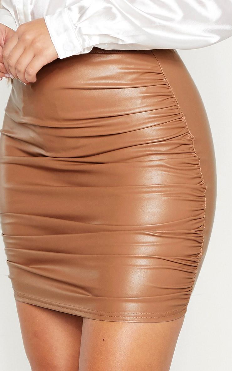 Stone PU Ruched Detail Mini Skirt 6