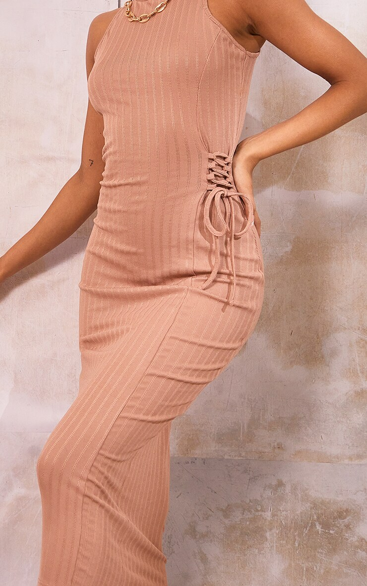 Stone Broderie Rib Sleeveless Midi Dress 4