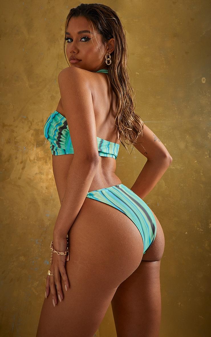 Green Abstract Stripe Cross Front Bikini Top 2