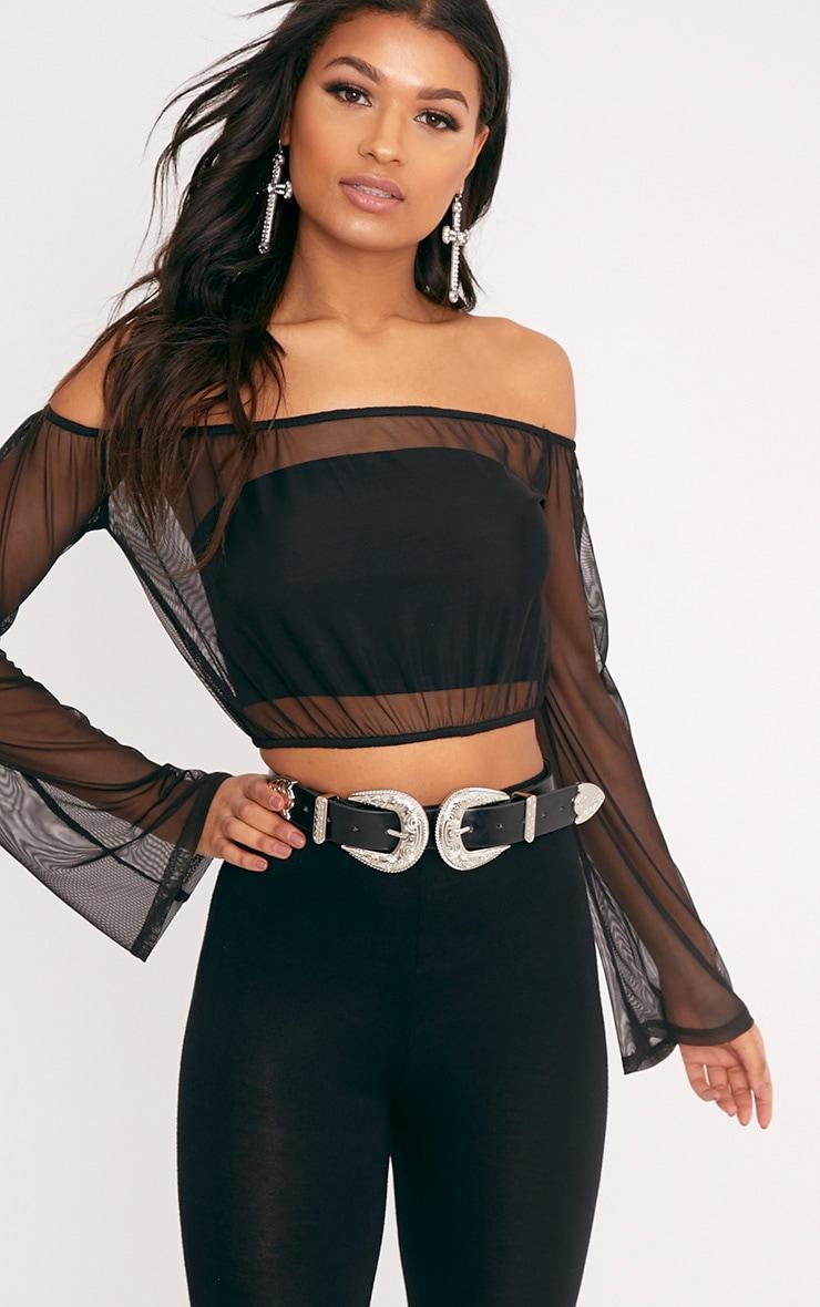 d1e191735b2 Yessica Black Mesh Bardot Flare Sleeve Crop Top | Tops ...